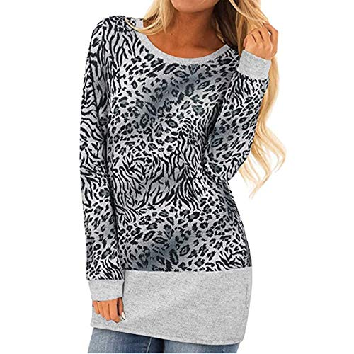 jieGorge Women's Blouse, Women's Casual Long Sleeve Round Neck Leopard Print Pullover Blouse Tops, Clothing...