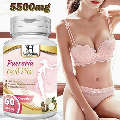 PUERARIA MIRIFICA 5500mg Strongest Bust Firming Breast Enlargement - Body Augmentation, Vaginal Health, Menopause Relief, Skin & Hair Health 60 Vegetarian Capsules