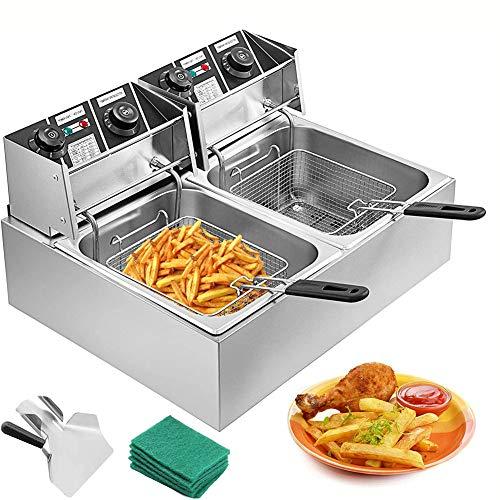 WMZQW Fritteuse Edelstahl 2x10L Gewerbe Friteuse 5000W Dual-Tank-Elektro-Fritteuse elektrische Fritteuse für Restaurant Kommerzielle Nutzung