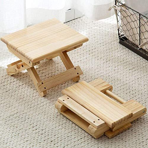 Taburete de pie plegable de madera maciza, pies antideslizantes resistentes resistentes duraderos, taburete plegable compacto, ligero, fácil de transportar, ahorrar espacio,Wood color