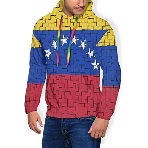 LanDu Venezuela Flag Puzzle Sudadera con Capucha para Hombres Camisas con Capucha de Peso Pesado Cómoda Sudadera con Capucha M