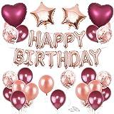 O-Kinee Geburtstag Deko Weinrot Roségold, Geburtstag Dekoration, Roségold Konfetti Luftballons Folienballon Luftballons, Geburtstagsdeko für Frau