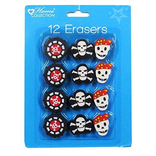 Pirate gommes, 3 designs – Lot de 12