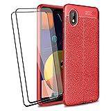 BRAND SET Funda para Samsung Galaxy M01 Core/A01 Core, Ultra Slim Cárcasa Silicona + 2 Pack Cristal Templado Protector de Pantalla [Antigolpes] [Anti-Rasguño] Bumper Case Cover(Rojo)