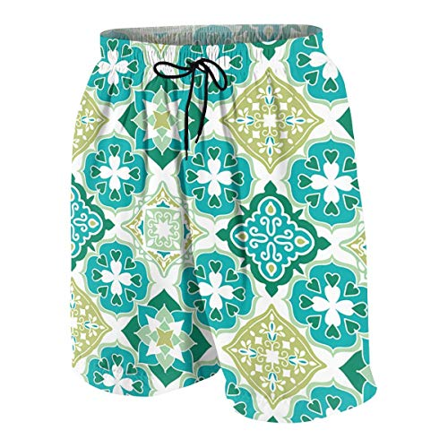 Colored Tiled Pattern Geometrical Diagonal and Triangle Forms Oldest Craft Bequeme Atmungsaktive Teen Strandhose White Modetrend Sonnenschein