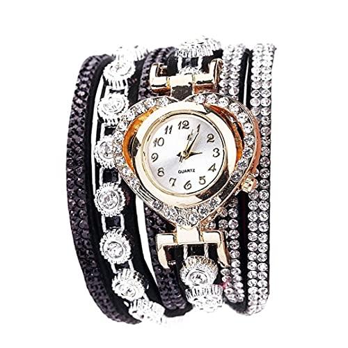 nJiaMe Forma de Las Mujeres del Reloj de Cuarzo analógico Reloj con Terciopelo Fino Adicional del Rhinestone Brazalete multicapas Brazalete Decorado corazón Casual Regalos Reloj de Pulsera-Negro