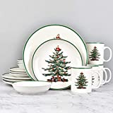 16 Piece Christmas Dishes Dinnerware sets, Christmas Tree Ceramic Dinnerware Set with Green Trim,...