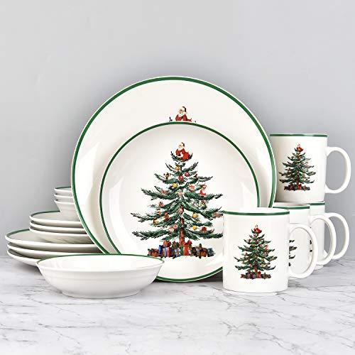 16 Piece Christmas Dishes Dinnerware sets, Christmas Tree Ceramic Dinnerware Set with Green Trim, Christmas Porcelain Dinnerware Set, Set for 4 for Christmas Xmas