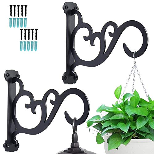 GOGOAT Upgraded Plant Hanging Bracket,Decorative Plant Hangers Outdoor,Iron Wall Hooks for String Lights, Lanterns, Wind Chimes 2 Pack - Black