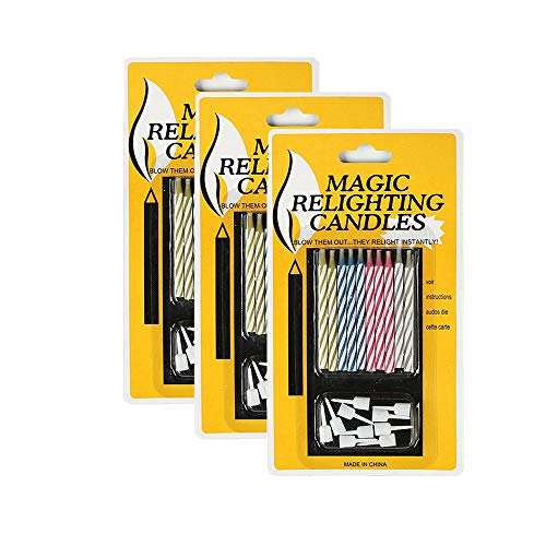 RAPG 30PCS Magic Relighting Candles, Automatic reignition Candle, Fun Prank Kit Cake Tricks and Decorations, Trick Candle for Birthday, Party, Christmas, Celebration, 10 per Box