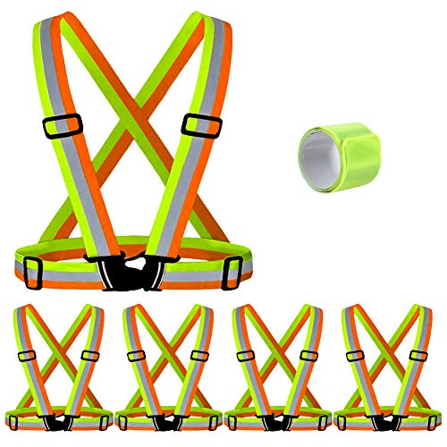 T-Sheng Safety Vest with 5 Pack,Reflective Belts Provides High Visibility for Men,Women& kids Outdoors ,Adjustable and Elastic,Ultralight and Comfy for Walking(Yellow & Orange)