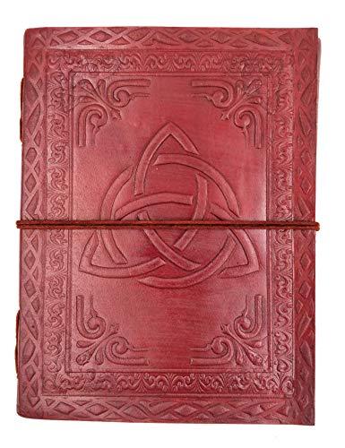Kooly Zen Notizblock, Tagebuch, Buch, echtes Leder, Vintage, Triquetra, 15 cm x 20 cm, Premiumpapier