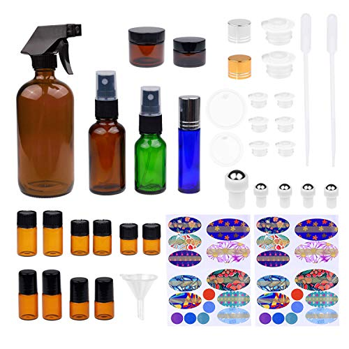 Kare & Kind Trousse de bouteille d'huile essentielle rechargeable - 16 flacons d'huile essentielle multi-formats, 3 flacons, 16 flacons, 78 étiquettes, 2 mini-fûts + entonnoir pour faciliter