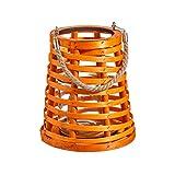 Portavelas con Vaso Naranja de Madera y Cristal de 18x13x20 cm - LOLAhome
