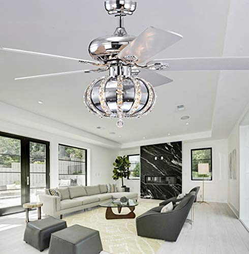 3-lights 52 inch Ceiling Fan with Lights Chandelier Fans Fixtures Fandelier ceiling fans with Remote Lighting,Crystal Ceiling Fan with CageChandelier with Fan for Bedroom