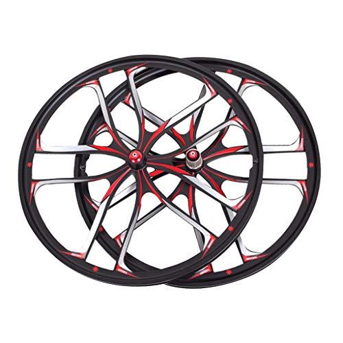 Ruedas de Bicicleta Integradas de 26 Pulgadas, Aleación de Aluminio Freno de Disco MTB Híbrido/Montaña Centro de Ciclismo para Velocidad 7/8/9/10/11 Casete (Color : Black, Size : 26in)
