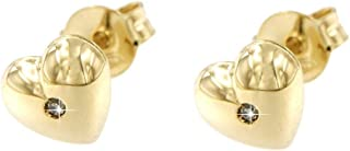 forme di Lucchetta per Donna - Orecchini o Collana con Diamante incastona su Cuore realizzato in Vero Oro Giallo