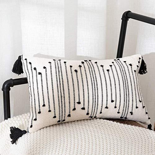 hi-home 1 Stück Boho Kissenbezug, 30x50cm Kissenhülle Dekokissen mit Schwarz Quasten für Dekorative Kissen Boho Style Sofakissen für Sofa Schlafzimmer Wohnzimmer