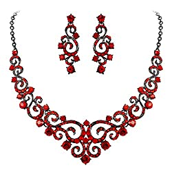 Red Black-Tone Crystal Gorgeous Floral Vine Necklace Earrings Set