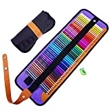 Kaxich set di 50 matite colorate, matite colorate Art con Roll-up canvas Pouch & temperamatite per artisti, per bambini e adulti 175 mm / 7 inches 50 Colored
