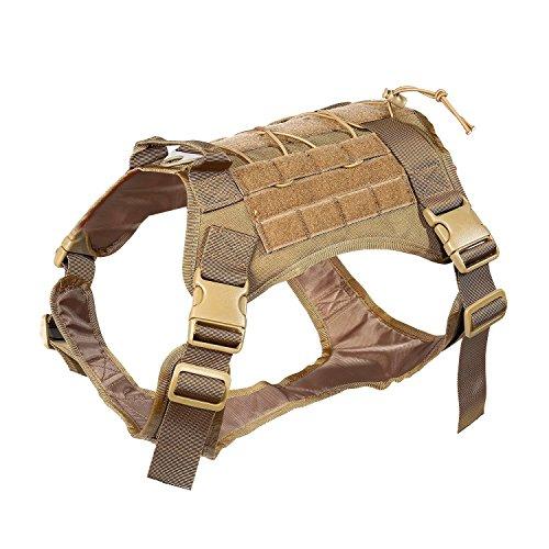 Feliscanis Tactical Service Dog Vest Military Patrol K9 Dog Vest Brown L