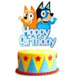 Icasy Bluely Birthday Party Cake Topper, Happy Birthday Bluely Themed Party Cake Topper Decoration for Boys Girls Kids Birthday, Cartoon Sheepdog Cake Decor Suppliers for Photo Booth Props Baby Shower