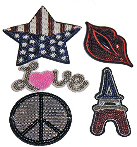 Blogger Fashion Trend Patch Paket mit trendigen Aufnähern Filz Pailletten Modellwahl PAP (USA Peace Love UK Zunge)