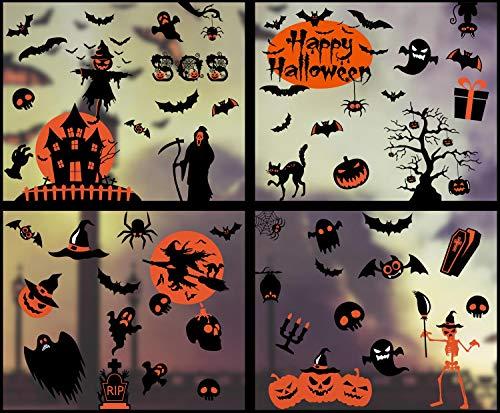 heekpek Halloween Vogelscheuche Schädel Aufkleber Halloween Fenster Aufkleber Hexe Geister Kürbis Wandaufkleber Fenster Sticker für Halloween Party Dekorationen