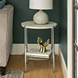 Walker Edison Blaine Mid Century Modern Marble and Glass Round Accent Table , 20 Inch, White Marble and Silver