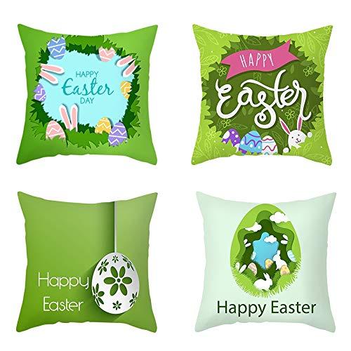 BOINN 4 Piezas Funda de Almohada de Conejito Decoraciones de Pascua Felices para el Hogar Huevos de Conejo de Pascua Funda de Almohada Suministros de Fiesta de Boda 45X45Cm