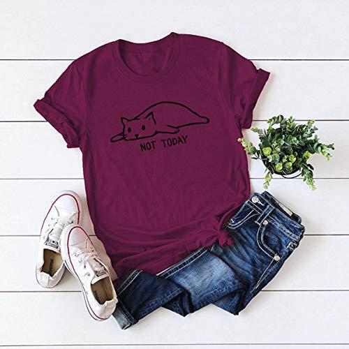 DAIDAINDX S-5Xl Lovely Cat Letter Print T Shirt Women 100% Cotton O Neck Short Sleeve Summer T-Shirt Tops Casual T Shirts