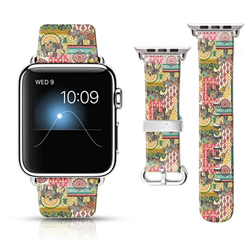 LAACO Leather Band Compatible with iWatch SE Series 6 38mm 40mm, Genuine Leather Fadeless Pattern Printed Vintage Replacement Strap Classic Bands Compatible with iWatch 6/5/4/3/2/1 Nostalgic Elephant