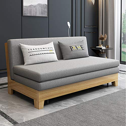 SND-A Modern Couch Living Room, Lazy Sleeper Sofa Upgrade Convertible Folding Futon Sofa Bed with Light,USB Charging Port And Large Capacity Storage Function,Solid Wood Legs,Gray,1.64M