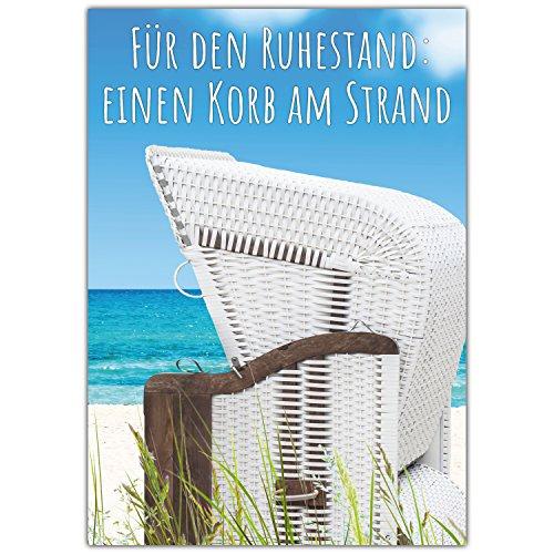 A4 XXL Ruhestandskarte STRANDKORB mit Umschlag - edle Abschiedskarte zur Rente Pension Ruhestand Karte für Kollegen Mitarbeiter Chef von BREITENWERK