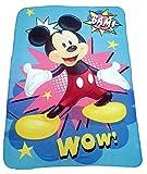 Mickey Mouse Disney Fleecedecke 100 x 150 mit Bam & Wow Motiv für Kinder, Kuscheldecke mit Öko Tex Standard 100