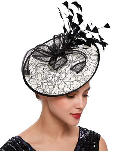 Coucoland Tocado elegante con plumas y flores para mujer, tocado para bodas, cócteles, fiestas de té, carrera de caballos, accesorios para el pelo, accesorios para mujer, disfraz (estilo 1)