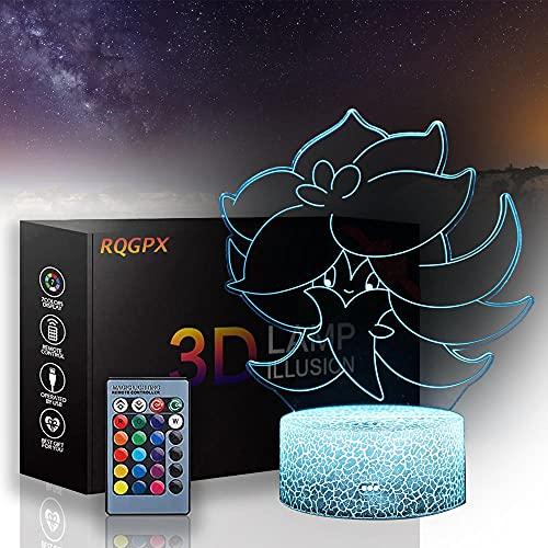 Pokemon 3D Lámpara Led Anime Pokémon A 3D Luz de Noche Táctil Lámpara de Escritorio para Dormitorio de los Niños, Cargador USB Bonitos Regalos para Cumpleaños X-mas Vacaciones