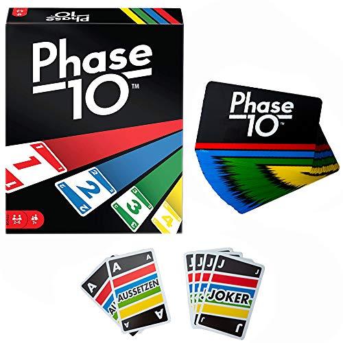 infinitoo Phase 10 Kartenspiel und Gesellschaftspiel geeignet für 2 - 6 Spieler, Einfache und lustige Kartenspiele und Familienspiele,Spiel ab 7 Jahren