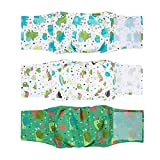 MICOOYO Washable Belly Bands for Male Dogs | Reusable Doggie Diapers | Absorbent Doggy Wraps with Adjustable Velco - Small (Pack of 3, Elephants & Snails & Birds)