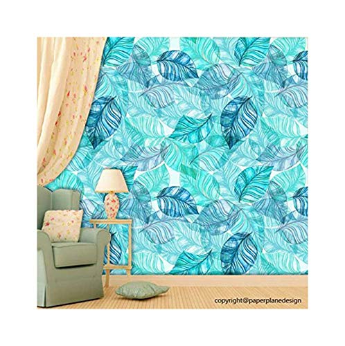 Paper Plane Design Wallpaper Self Adhesive Wall Sticker Matte Water Proof- Botanical Leaves Theme...