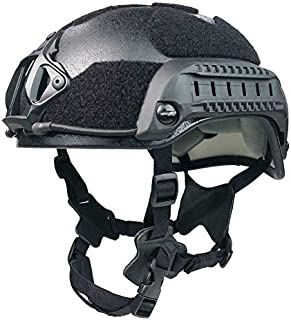 Phalanx Entry Level Black Tactical Bump Helmet w/Rails, NVG/Camera Mount and Loop for Patches, Strobes etc.