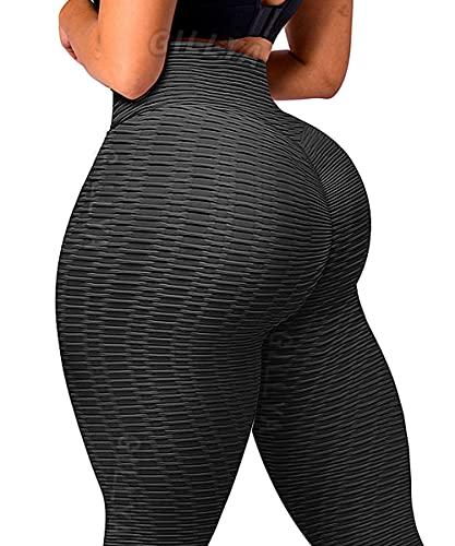 GILLYA Booty Yoga Pants Anti Cellulite Lift Leggings for Women High Waist Scrunch Booty Lifting Leggings TikTok Tights (Black, L)