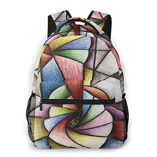 Rucksack Männer Und Damen, Laptop Rucksäcke für 14 Zoll Notebook, Pastellmusik Gitarren Kubismus Kinderrucksack Schulrucksack Daypack für Herren Frauen