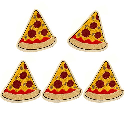 XUNHUI Pizza Patch for Clothing Iron On Embroidered Sew Applique Cute Patch Fabric Clothes Badge Garment DIY Apparel Accessories 5 PCS 5.8CMX6.2 cm