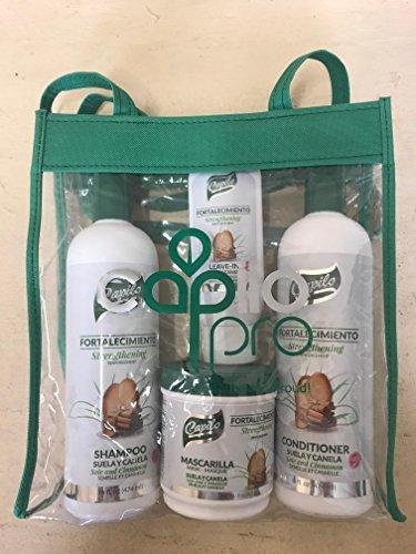 Capilo Suela y Canela Fortalecimiento strengthening kit shampoo conditioner mask leave in mascarilla