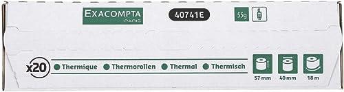 Exacompta - 40741e - Lot de 20 Bobines Pour Tickets de Carte Bancaire Et Terminal de Paiement 57 Mm X 18 M