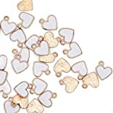 Pack of 80 Side Ring Heart White Enamel Charms Gold Plated Colored Pendants Hawaii Style Accessories for Necklace Bracelet Jewelry Making DIY Crafting