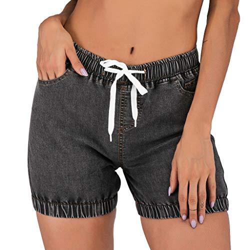 WOZOW Denim Shorts Kurze Hose Damen Jeanshose Solid Einfarbig Schlank Slim Mini Bermuda Freizeithose Stoffhose Vintage Retro Casual High Waist Elastic Kardashian Bloomers (M,Dunkelgrau)