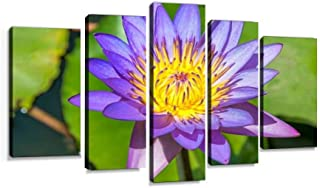 XEPPO Lotus Flower,Sri Lanka Prints Canvas Wall Art Abstract Landscape Photography Paintings for Modern Home Decor 5Pcs Modern Stretched and Framed