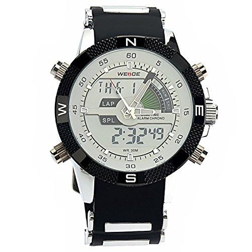 Weide WH-1104 Herren-Armbanduhr, wasserfest, 2 Zeitanzeigen, LED, digital, Quarz-Uhrwerk, mit Datum, Wecker und Stoppuhr